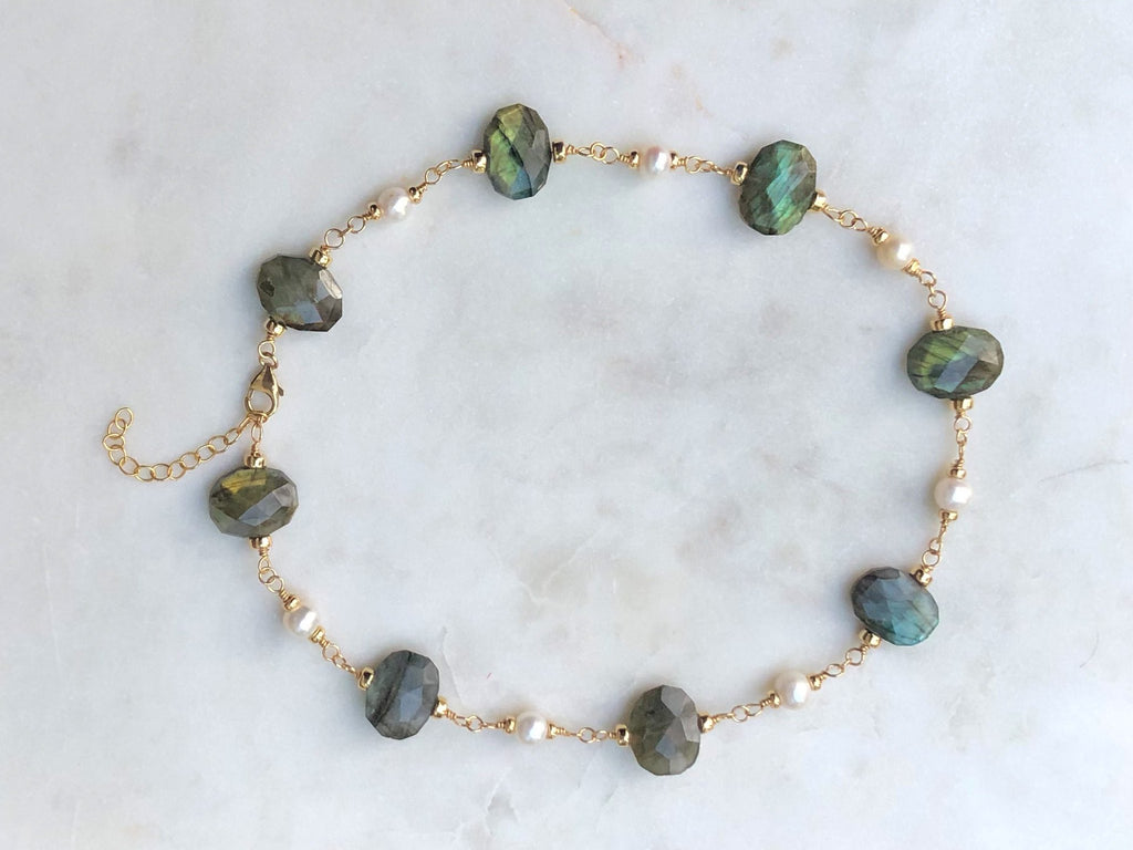 Labradorite and Fresh Water Pearl Necklace