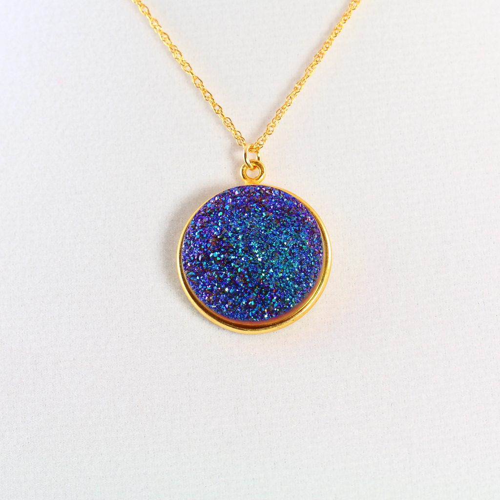 Cerulean Blue Druzy Necklace