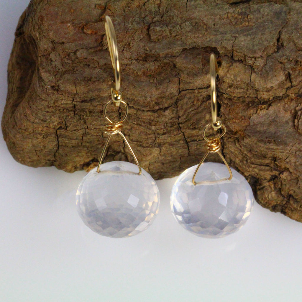Ice Quartz Faceted Earrings