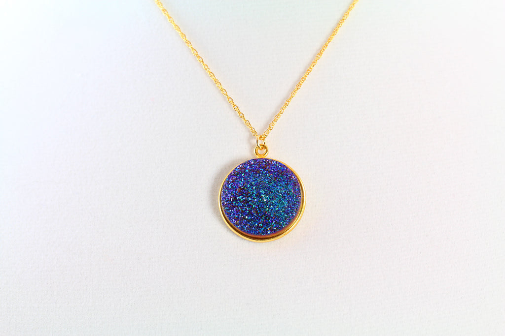 Cerulean Blue Drusy Necklace