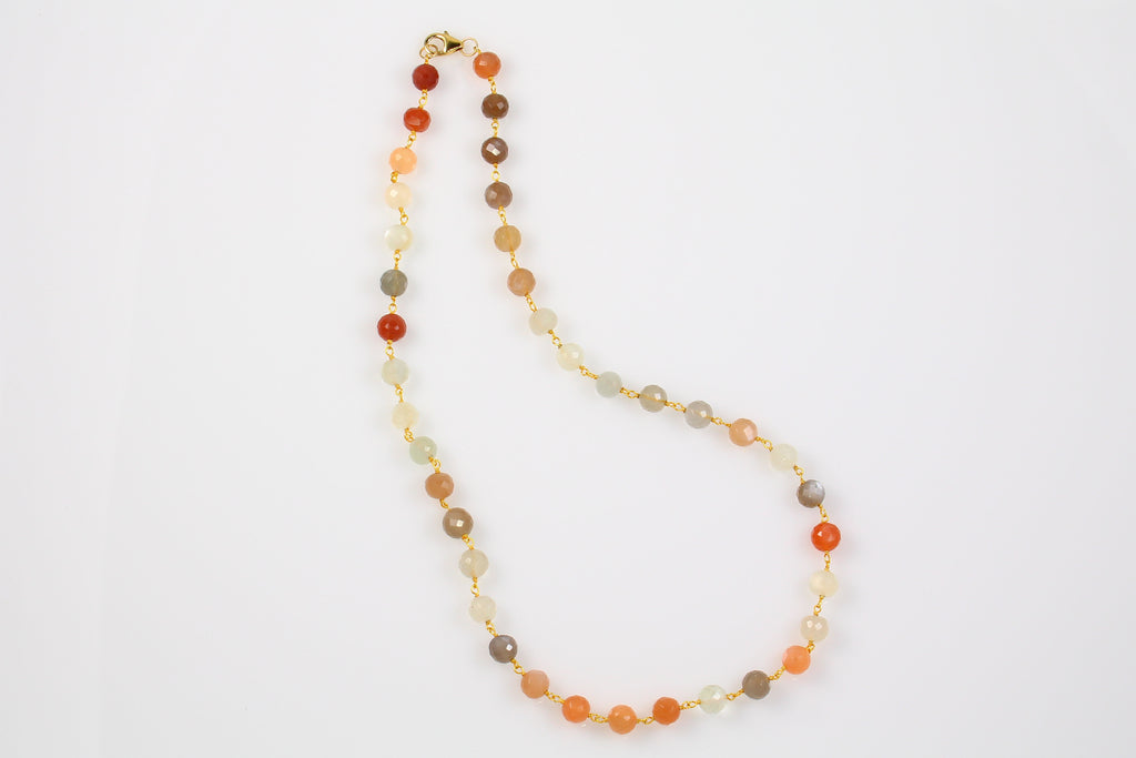 Mixed Moonstone Chain Necklace