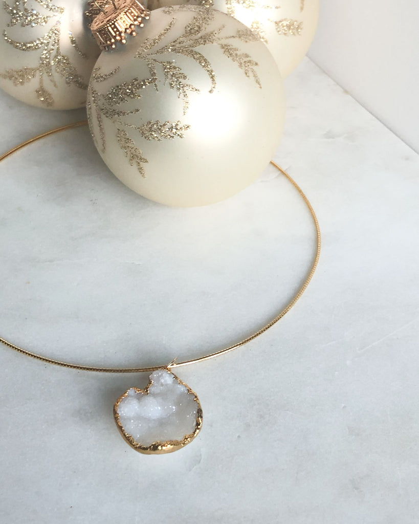 White Drusy Agate Necklace