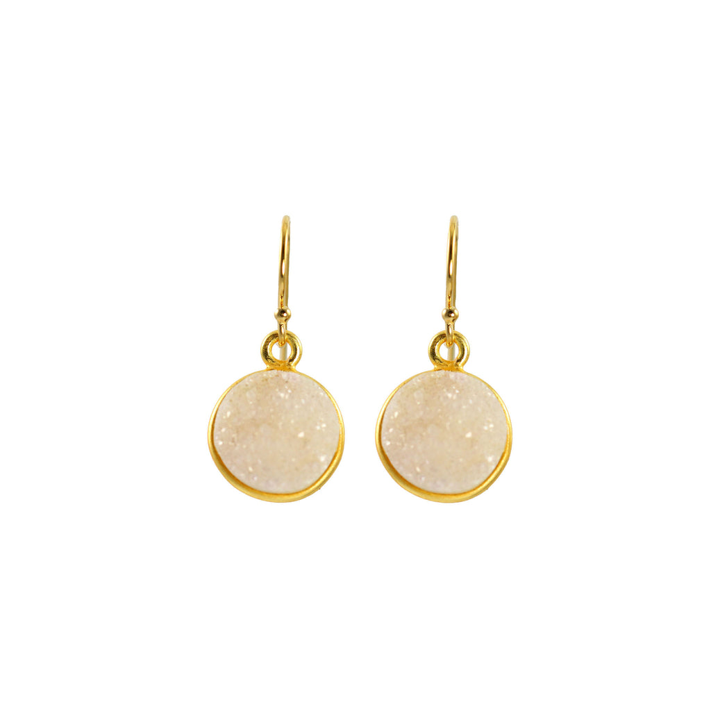 White Druzy Disk Earrings