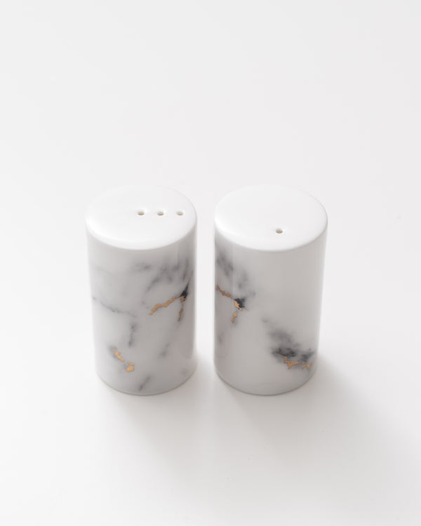 24K Marble Salt + Pepper Shakers