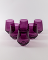 Angelou Stemless Wine Gift Set 6pc | Amethyst