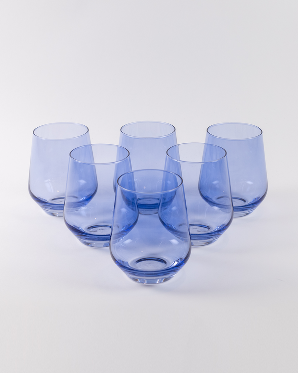 Angelou Stemless Wine Gift Set 6pc | Cobalt Blue