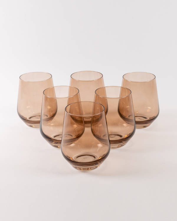 Angelou Stemless Wine Gift Set 6pc | Amber Smoke