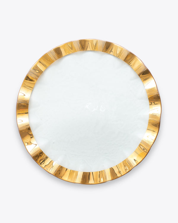 Ruffle Charger Plate | Rent | Gold