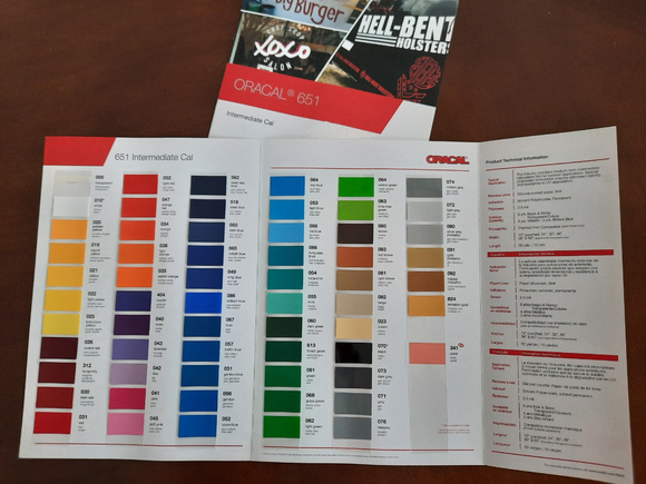 Oracal 651 Color Guide Cards
