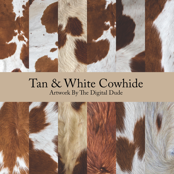 Tan & White Cowhides