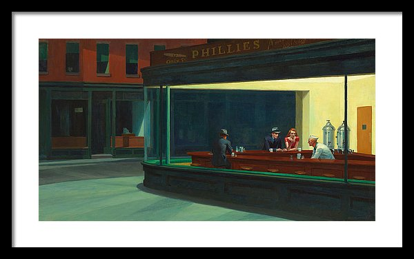 Edward Hopper Nighthawks Framed Canvas Ready To Hang Classical Art Giclee Wall Art Print Interior Design Museum Quality