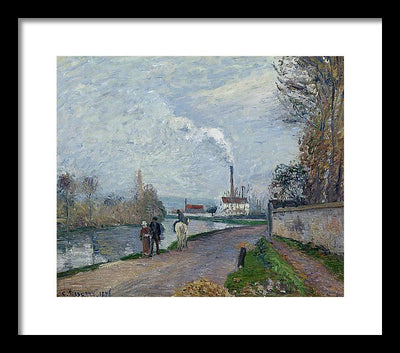 Camille Pissaro The Oise near Pontoise in Grey Weather Framed Canvas Ready To Hang Classical Art Giclee Wall Art Print Interior Design Museum Quality