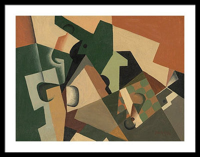 Juan Gris Glass and Checkerboard Framed Canvas Ready To Hang Classical Art Giclee Wall Art Print Interior Design Museum Quality