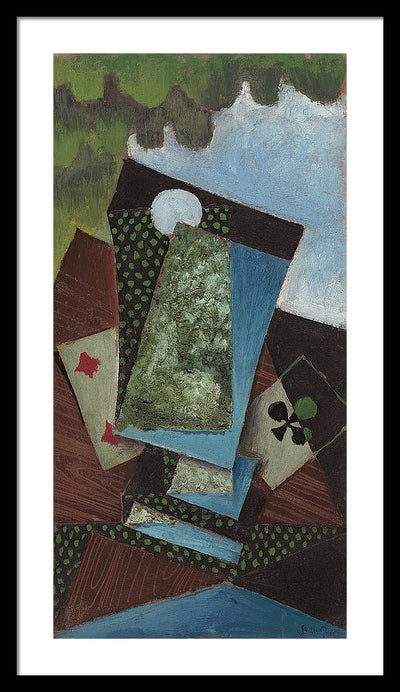 Juan Gris Ace of Clubs and Four of Diamonds Framed Canvas Ready To Hang Classical Art Giclee Wall Art Print Interior Design Museum Quality