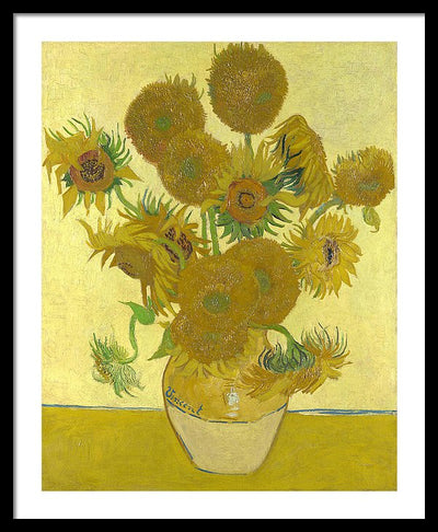 Vincent van Gogh Still Life: Vase with Fourteen Sunflowers Framed Canvas Ready To Hang Classical Art Giclee Wall Art Print Interior Design Museum Quality