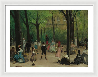 William James Glackens Luxembourg Gardens Framed Canvas Ready To Hang Classical Art Giclee Wall Art Print Interior Design Museum Quality
