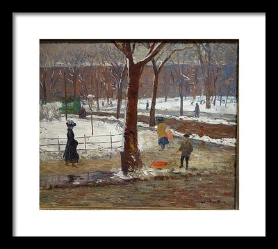 William James Glackens Washington Square, Winter Framed Canvas Ready To Hang Classical Art Giclee Wall Art Print Interior Design Museum Quality