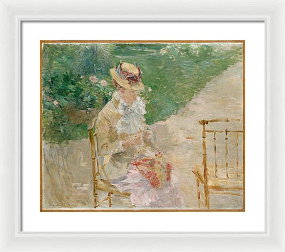 Berthe Morisot Young Woman Knitting Framed Canvas Ready To Hang Classical Art Giclee Wall Art Print Interior Design Museum Quality