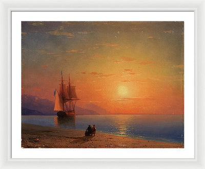 Ivan Aivazovsky Sunset at Sea Framed Canvas Ready To Hang Classical Art Giclee Wall Art Print Interior Design Museum Quality
