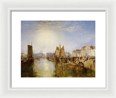 J. M. W. Turner The Harbor of Dieppe Framed Canvas Ready To Hang Classical Art Giclee Wall Art Print Interior Design Museum Quality