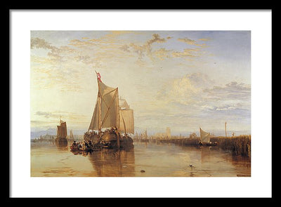 J. M. W. Turner Dort or Dordrecht: The Dort Packet-Boat from Rotterdam Becalmed Framed Canvas Ready To Hang Classical Art Giclee Wall Art Print Interior Design Museum Quality