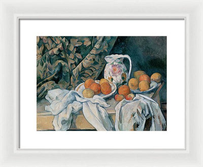 Paul Cezanne Still Life with a Curtain Framed Canvas Ready To Hang Classical Art Giclee Wall Art Print Interior Design Museum Quality