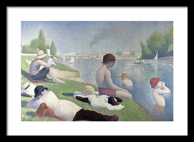 Georges Seurat Bathers In Asnieres Framed Canvas Ready To Hang Classical Art Giclee Wall Art Print Interior Design Museum Quality