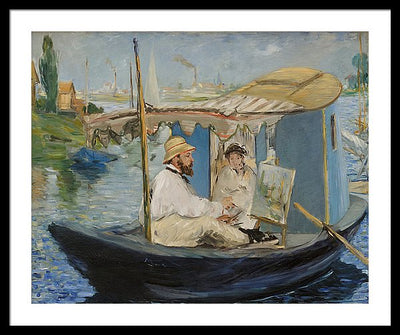 Edouard Manet Claude Monet in Argenteuil Framed Canvas Ready To Hang Classical Art Giclee Wall Art Print Interior Design Museum Quality
