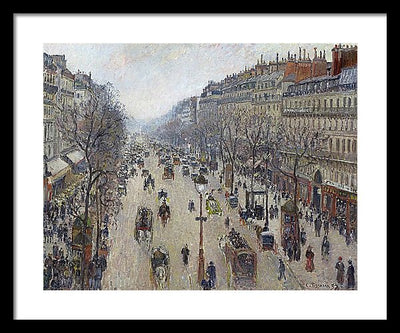 Camille Pissaro Boulevard Montmartre, Morning, Cloudy Weather Framed Canvas Ready To Hang Classical Art Giclee Wall Art Print Interior Design Museum Quality