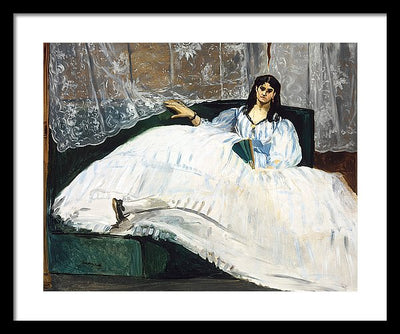 Edouard Manet Woman with a Fan Framed Canvas Ready To Hang Classical Art Giclee Wall Art Print Interior Design Museum Quality