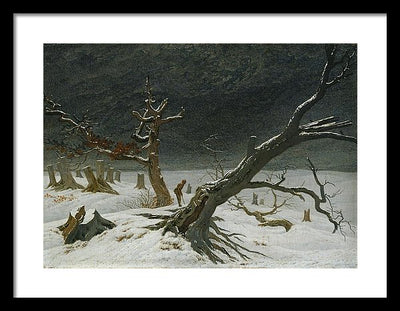 Caspar David Friedrich Winter landscape Framed Canvas Ready To Hang Classical Art Giclee Wall Art Print Interior Design Museum Quality