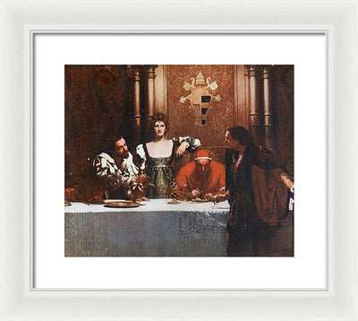 John Collier A Glass Of Wine With Caesar Borgia Wondante Framed Canvas Ready To Hang Classical Art Giclee Wall Art Print Interior Design Museum Quality