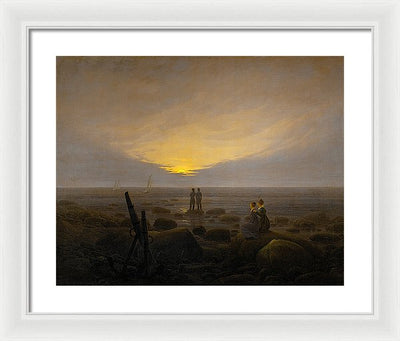 Caspar David Friedrich Moonrise over the Sea Framed Canvas Ready To Hang Classical Art Giclee Wall Art Print Interior Design Museum Quality
