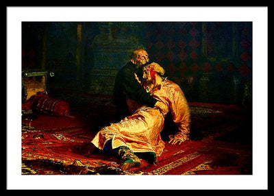 Ilya Repin Ivan the Terrible and His Son Ivan Framed Canvas Ready To Hang Classical Art Giclee Wall Art Print Interior Design Museum Quality