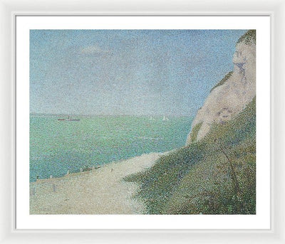 Georges Seurat La greve du Bas Butin in Honfleur Framed Canvas Ready To Hang Classical Art Giclee Wall Art Print Interior Design Museum Quality