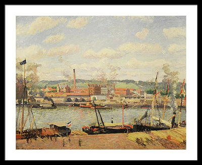 Camille Pissaro View on the cotton mill of Oiseel near Rouen Framed Canvas Ready To Hang Classical Art Giclee Wall Art Print Interior Design Museum Quality