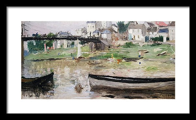 Berthe Morisot Bateaux sur la Seine Framed Canvas Ready To Hang Classical Art Giclee Wall Art Print Interior Design Museum Quality