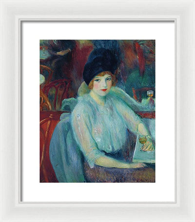 William James Glackens Café Lafayette  Framed Canvas Ready To Hang Classical Art Giclee Wall Art Print Interior Design Museum Quality