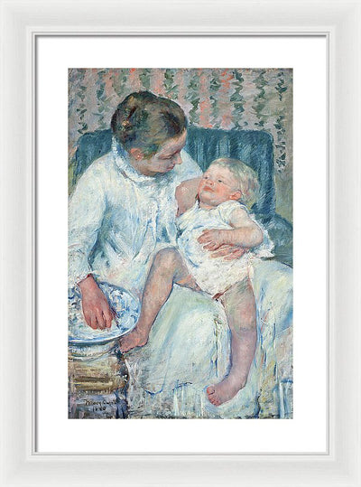 Marry Cassat Mother About to Wash Her Sleepy Child Framed Canvas Ready To Hang Classical Art Giclee Wall Art Print Interior Design Museum Quality