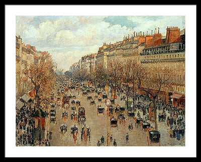 Camille Pissaro Boulevard Montmartre Framed Canvas Ready To Hang Classical Art Giclee Wall Art Print Interior Design Museum Quality