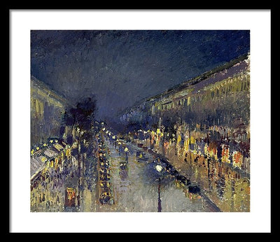Camille Pissaro The Boulevard Montmartre at Night Framed Canvas Ready To Hang Classical Art Giclee Wall Art Print Interior Design Museum Quality