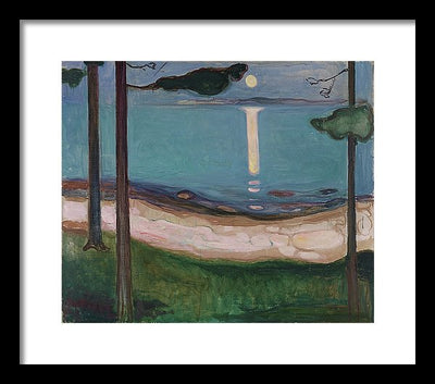 Edvar Munch Moonlight Framed Canvas Ready To Hang Classical Art Giclee Wall Art Print Interior Design Museum Quality