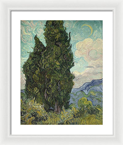 Vincent van Gogh Cypresses Framed Canvas Ready To Hang Classical Art Giclee Wall Art Print Interior Design Museum Quality