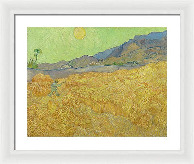 Vincent van Gogh Wheatfield With A Reaper Framed Canvas Ready To Hang Classical Art Giclee Wall Art Print Interior Design Museum Quality