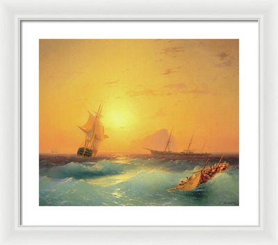 Ivan Aivazovsky American ships off the Rock of Gibraltar Framed Canvas Ready To Hang Classical Art Giclee Wall Art Print Interior Design Museum Quality