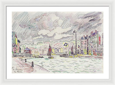 Paul Signac Le Havre mit Regenwolken Framed Canvas Ready To Hang Classical Art Giclee Wall Art Print Interior Design Museum Quality