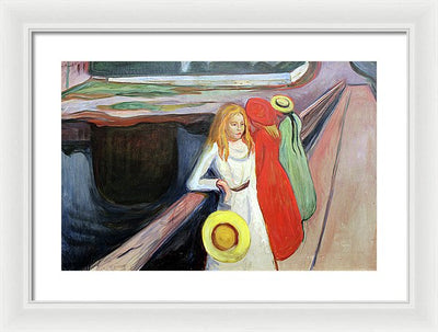 Edvar Munch Girls On The Bridge Framed Canvas Ready To Hang Classical Art Giclee Wall Art Print Interior Design Museum Quality