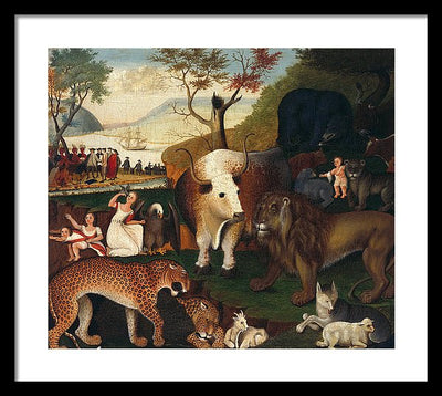Edward Hicks The Peaceable Kingdom Framed Canvas Ready To Hang Classical Art Giclee Wall Art Print Interior Design Museum Quality
