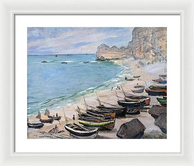 Claude Monet Boats on the beach in Etretat Framed Canvas Ready To Hang Classical Art Giclee Wall Art Print Interior Design Museum Quality