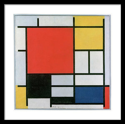 Piet Mondrian Composition In Red Yellow Blue And Black Framed Canvas Ready To Hang Classical Art Giclee Wall Art Print Interior Design Museum Quality
